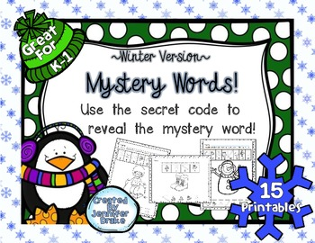 Mystery Words!  ~Winter Version~  15 Printables for K-1  *