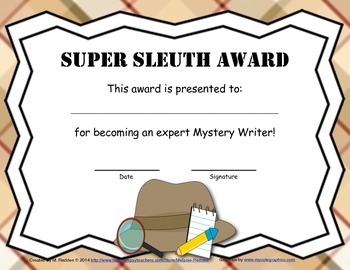 Mystery Writing Author Award FREEBIE