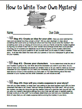 How to Write a Mystery Interactive Notebook, Easy Student Guide