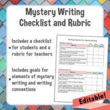 Mystery Writing Student Checklist and Teacher Rubric *Editable*