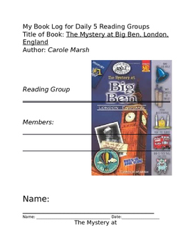 Mystery at Big Ben, London England Book Log, study guide
