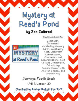 Mystery at Reed's Pond Activities 4th Grade Journeys Unit