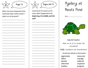 Mystery at Reed's Pond Trifold - Journeys 4th Grade Unit 6 Week 5 (2014, 2017)