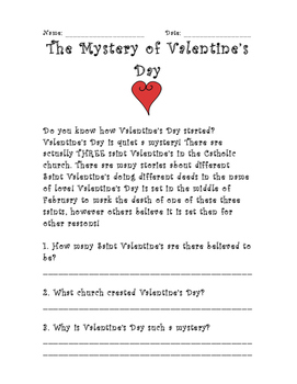 Mystery of Valentine's Day- Reading Comprehension Passage
