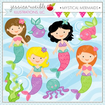 Mystical Mermaids Cute Digital Clipart, Mermaid Graphics