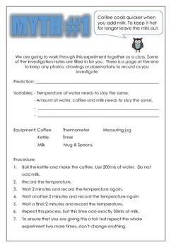 Myth Busters Science Investigations Pack