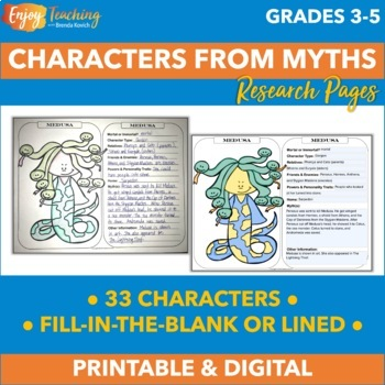 Greek Mythology Research & Coloring - Gods, Goddesses & Other Characters