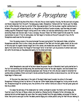 Myth Demeter and Persephone with Sentence Starters and KEY