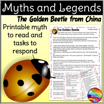 Myth Legend Chinese GOLDEN BEETLE Text & Task Cards Connec