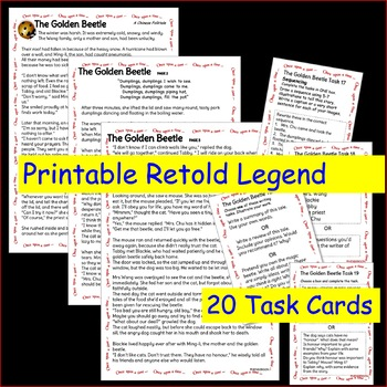 Chinese Myth or Legend GOLDEN BEETLE Story & Task Cards for Elementary Students