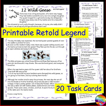 An Irish Myth or Legend 12 WILD GEESE Story & Task Cards for Elementary Students