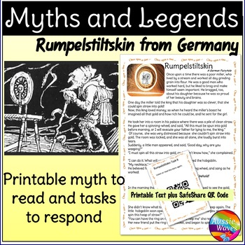 German Fairytale RUMPELSTILTSKIN Story & Task Cards Elementary Students