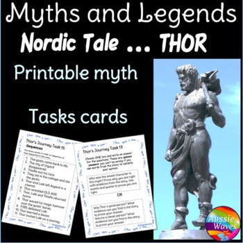 Norse Myth or Legend of hero THOR Story & Task Cards for Elementary Students