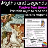 Greek Myth or Legend PANDORA'S BOX Story & Task Cards for Elementary Students