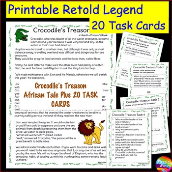 A South African Myth or Legend Story & Task Cards for Elementary Students