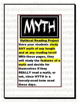 Analyzing Myth/Mythical Reading Response Pages (genre/novel study/project)