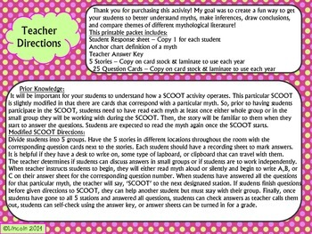 Myth SCOOT- Theme, Inferences, Drawing Conclusions, Compare & Contrast