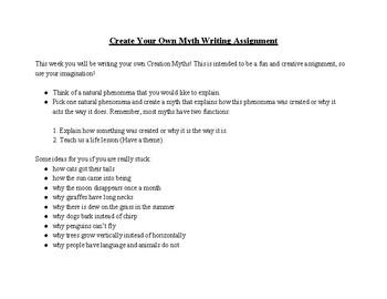 Myth Writing Project