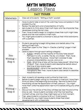 Myth Writing Unit - 8 days of writing lessons!