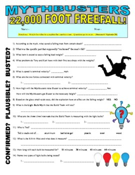 Mythbusters : 22,000 Foot Fall (video worksheet)