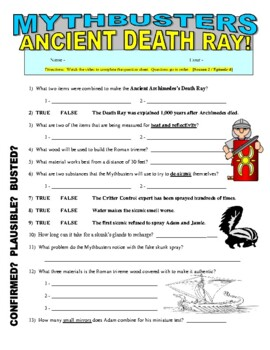 Mythbusters : Ancient Death Ray (science video worksheet / sub plans)