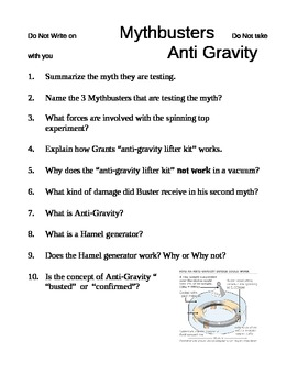 Mythbusters Anti Gravity