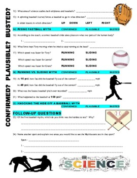 mythbusters baseball myths video worksheet by marvelous middle school. Black Bedroom Furniture Sets. Home Design Ideas
