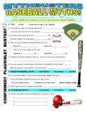 Mythbusters : Baseball Myths (video worksheet) / physical education