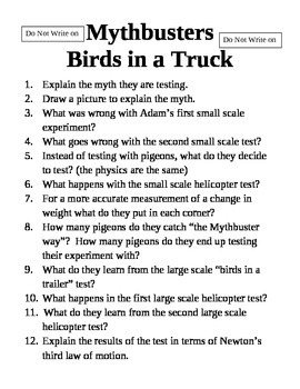 Mythbusters Birds in a Truck