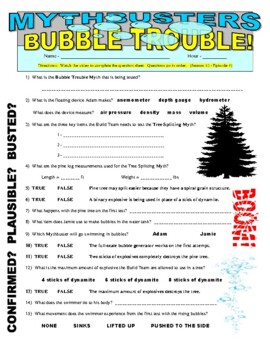 Mythbusters : Bubble Trouble (video worksheet)