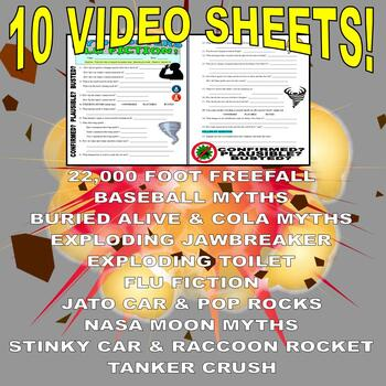 Mythbusters : Bundle #1 (10 video worksheets and more!)