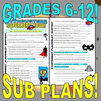 MYTHBUSTERS : BUNDLE SET #2 (10 video worksheets and more!) - SUB PLANS