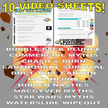 Mythbusters : Bundle #4 (10 Video Worksheets and More!) - SUB PLANS