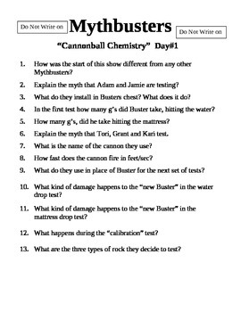 Mythbusters Cannonball Chemistry