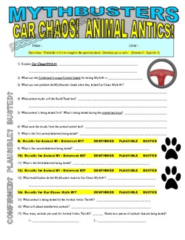 Mythbusters : Car Chas Chaos and Animal Antics (video worksheet)