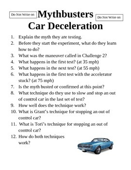 Mythbusters Car Deceleration