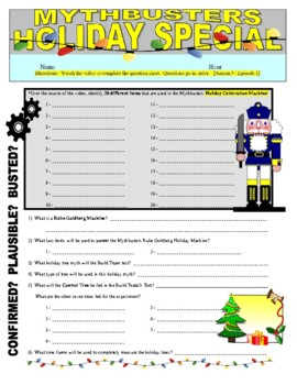 mythbusters christmas holiday special video worksheet - Mythbusters Christmas Tree