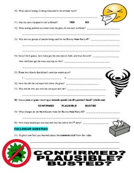 Mythbusters : Common Colds and Tornadoes (video worksheet)