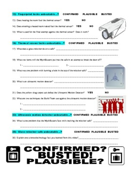 Mythbusters : Crimes and Myth-demeanors 2 (FORENSICS video worksheet)