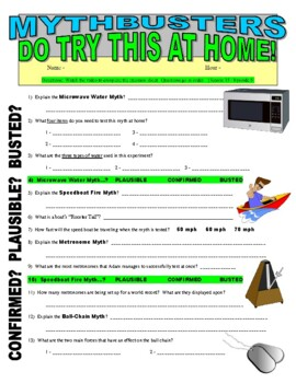 mythbusters do try this at home video worksheet by marvelous middle school. Black Bedroom Furniture Sets. Home Design Ideas