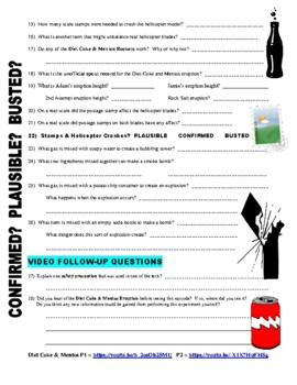 Worksheets Mythbusters Scientific Method Worksheet mythbusters diet coke m by marvelous middle school mentos video worksheet