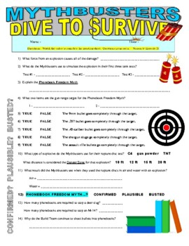 Mythbusters : Dive to Survive (science video worksheet)