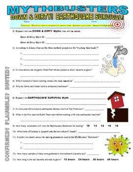 Mythbusters down dirty and earthquake survival video worksheet ibookread
