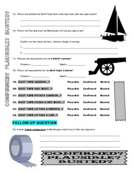 Mythbusters : Duct Tape Hour 1 (video worksheet)