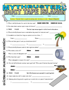 Mythbusters : Duct Tape Island (video worksheet)