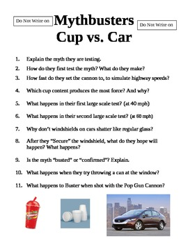 Mythbusters  Episode Cup vs. Car