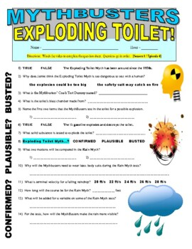 mythbusters exploding toilet video worksheet by marvelous middle school. Black Bedroom Furniture Sets. Home Design Ideas