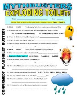 Mythbusters : Exploding Toilet (video worksheet)
