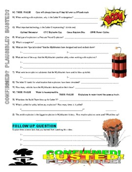 Mythbusters : Explosions A-to-Z (video worksheet / sub plans)