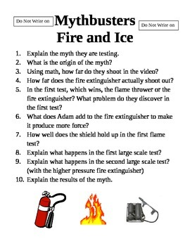 Mythbusters Fire and Ice